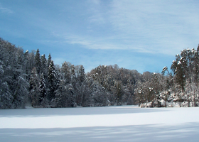 Lake in winter time