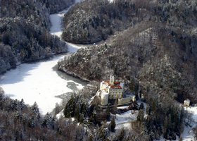View of the castle and the park from the air